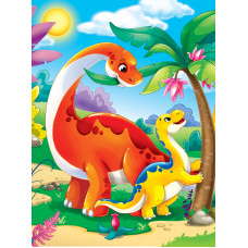 Холст с красками 17х22 см по номерам (в коробке). (14цв) Динозавры (Арт. ХК-3980)РКХК-3980