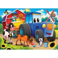 Холст с красками 17х22 см по номерам (в коробке) (14цв.) Трактор и зверята (Арт. ХК-8120)РКХК-8120