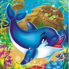 Холст с красками 20х20 по номер. в кор.  (цв.14) Дельфинчик в океане (Арт. ХК-8769)РКХК-8769