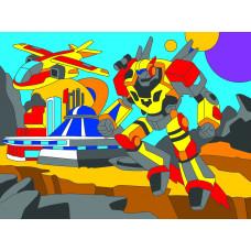 Холст с красками 18х24 см. Мир роботов (Арт. Х-9391)РКХ-9391
