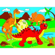 Холст с красками 18х24 см. Милые динозавры (Арт. Х-9393)РКХ-9393
