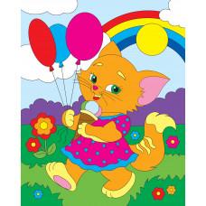 Холст с красками 20х25 см по номерам. Котенок с шариками (Арт. Х-2559)РКХ-2559