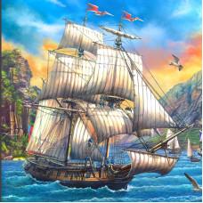 Холст с красками 20х20 см по номерам (в коробке), (14цв) Корабль в море у гор (Арт. ХК-8830)РКХК-8830
