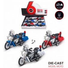 Мотоцикл инерция металл + звук 6шт в упаковке размер 16х5х9.5смОКMY66-A56