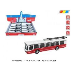 """Набор """"Троллейбус"""" свет+ русская озвучка двери открываются размер 17х3.2х6см в упаковке 12шт ОКTCC1811-12D"""