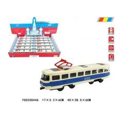 """Набор """"Трамвай"""" свет+ русская озвучка двери открываются в упаковке 12шт размер 17х3.2х6смОКTCC1812-12D"""