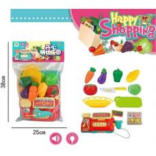 """Набор детский игровой """"Счастливая покупка"""" касса, овощи, свет + звук в пакете 25х38 смОК2018"""