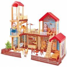 """Кукольный домик """"Мечта""""с мебелью 201 деталь в кор. 59х40х15.6смОК668-23"""