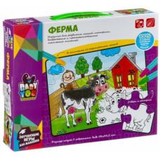 """Игровой набор из пазлов """"Ферма"""" и фломастеры в коробке 25.6х4.7х21смОК2158R"""