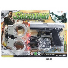 """Игровой набор """"Стрельба"""" пистолет + наручники 30х20смОК659-E3"""