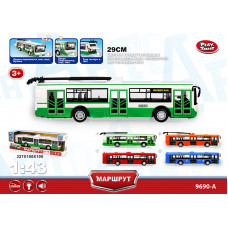 """инерц. """"Автопарк"""" 1:43 троллейбус зеленый со звуком и светом 29смБТ9690-A"""