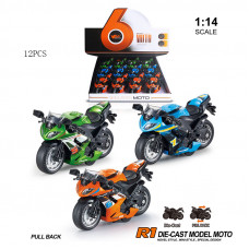 1:14 инерц. металл. мотоцикл (свет+звук) 3 цв.БТMY66-M2114