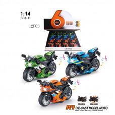 1:14 инерц. металл. мотоцикл (свет+звук) 3 цв.БТMY66-M2214