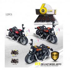 1:14 инерц. металл. мотоцикл Харлей Д(свет+звук) 3цв.БТMY66-M2215