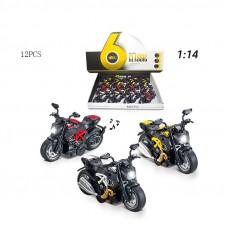 1:14 инерц. металл. мотоцикл (свет+звук) 3 цв.БТMY66-M2216