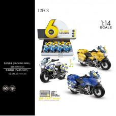 1:14 инерц. металл. мотоцикл (свет+звук) 3цв.БТMY66-M2217