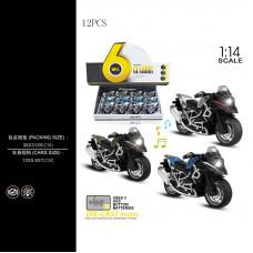 1:14 инерц. металл. мотоцикл (свет+звук) 3цв.БТMY66-M2218